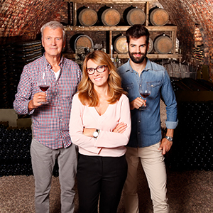 two generations of family winery owners